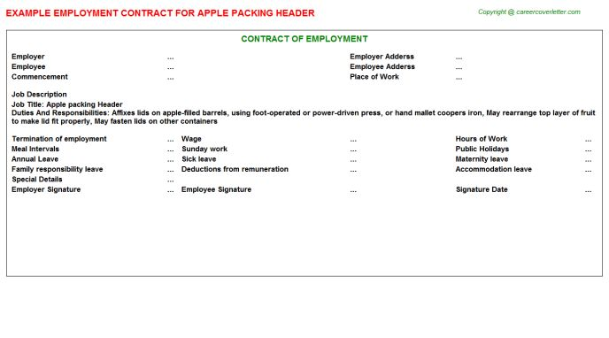 Apple Packing Header Employment Contracts