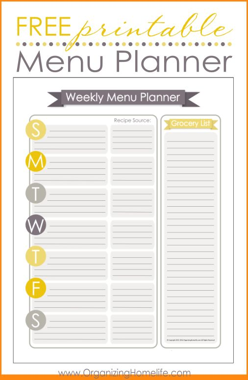 weekly menu template free