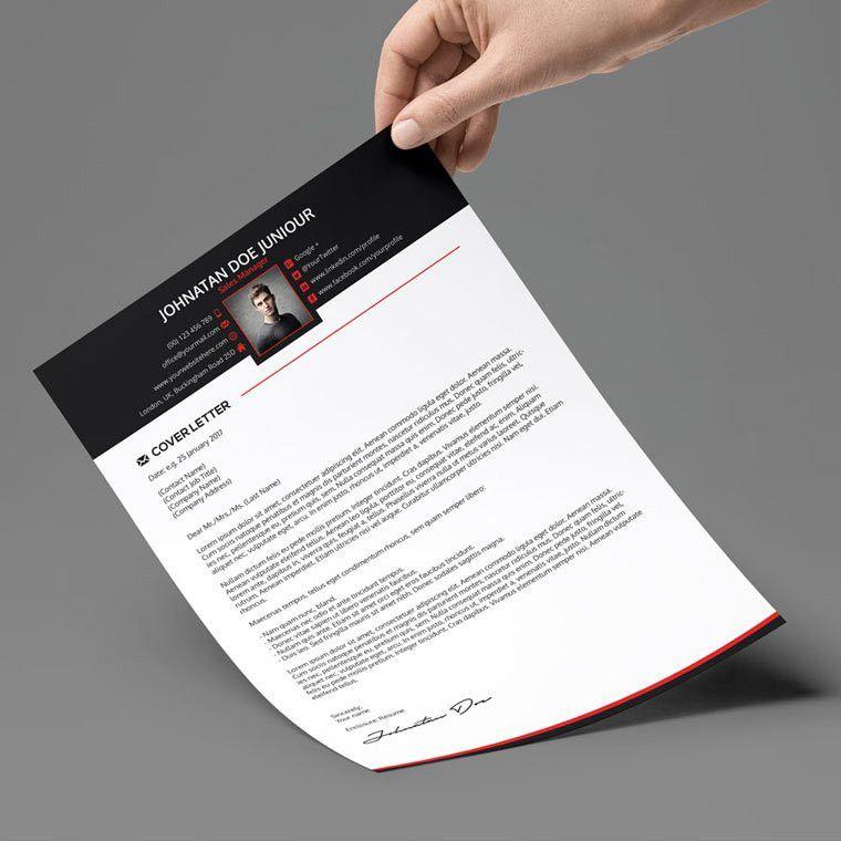 Creative Resume + Cover Letter + Portfolio 3 in 1 - PSD Template