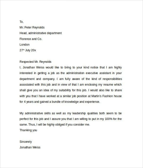 Administrative Assistant Cover Letter Template - 9+ Free Samples ...