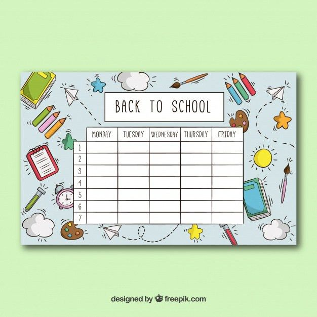 School timetable template with school objects Vector | Free Download