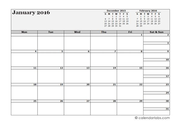 2016 Blank Monthly Calendar - Free Printable Templates