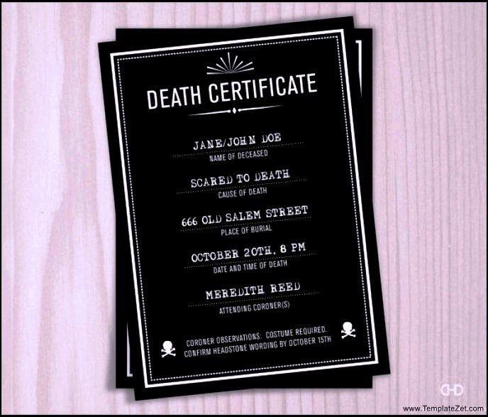 Sample Death Certificate | TemplateZet