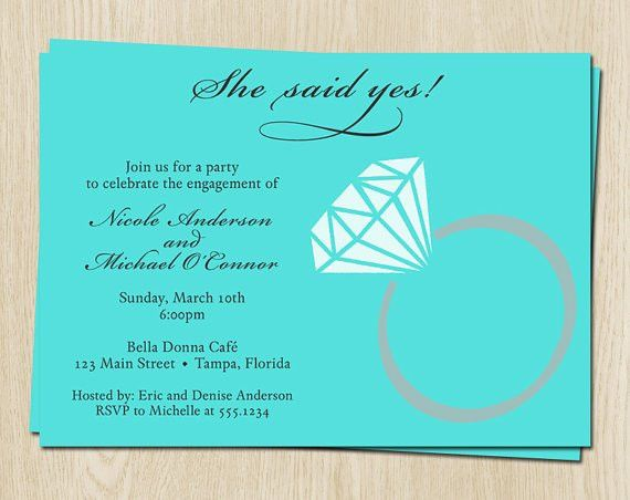 Diamond Ring Engagement Party Invitations, Blue, Gray, Wedding ...