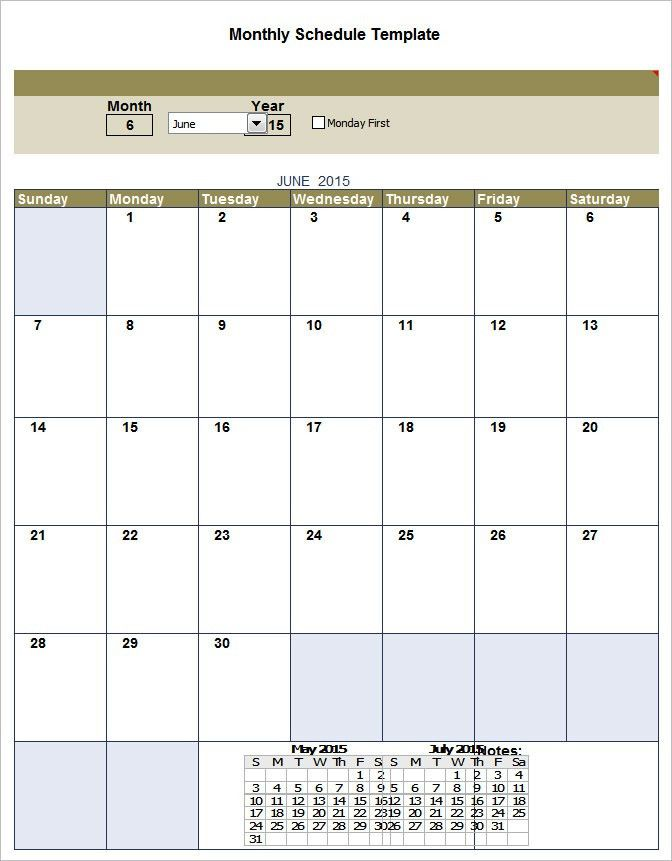 Monthly Schedule Template - 3 Free Excel, PDF Documents Download ...