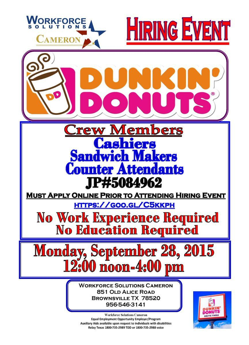 """WFSCameron on Twitter: """"Hiring! Dunkin Donuts Apply online prior ..."""