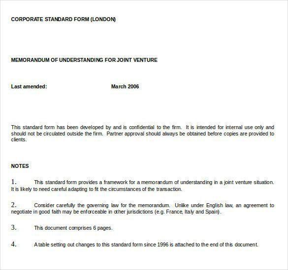 Memorandum Of Understanding Template Word | Template Design