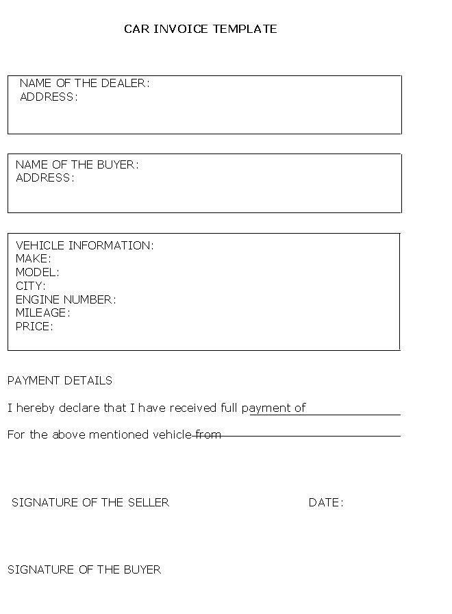Vehicle Sale Invoice Template | Free Business Template