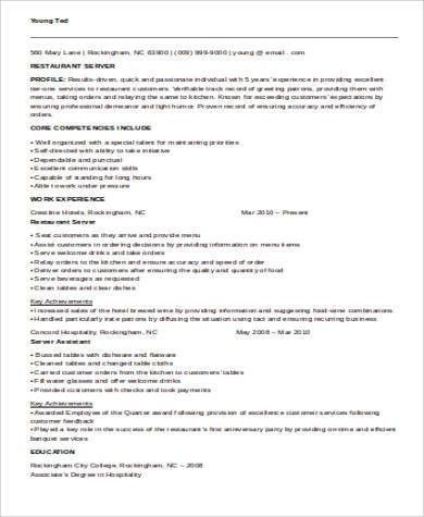 Banquet Server Resume Example. server resume template server ...
