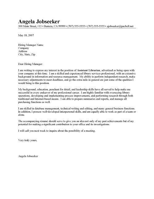 Cover Letter Examples Librarian | Cover Letter And Resume Samples ...