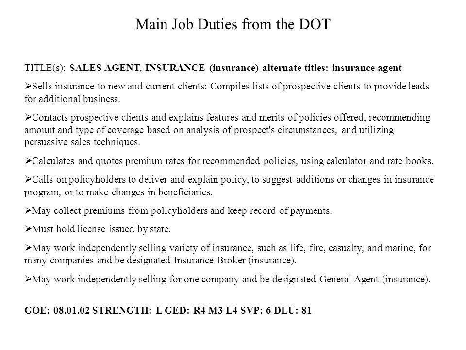 Insurance Sales Agent Concentration: Marketing, Sales & Service ...