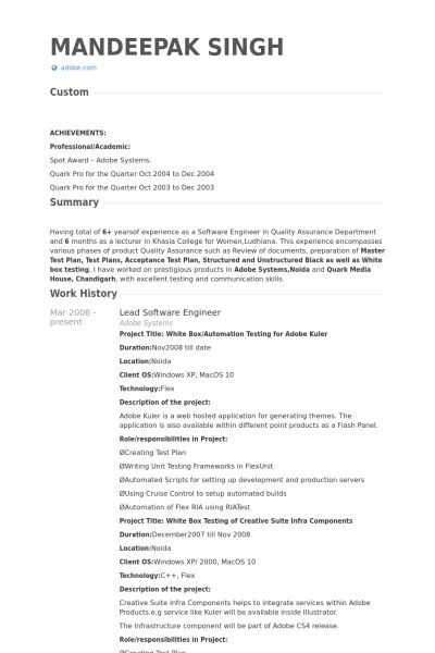 Lead Software Engineer CV Örneği - VisualCV Özgeçmiş Örnekleri ...