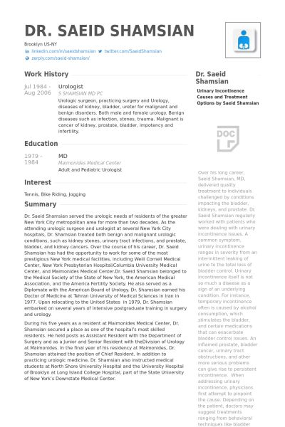 Urologist Resume samples - VisualCV resume samples database