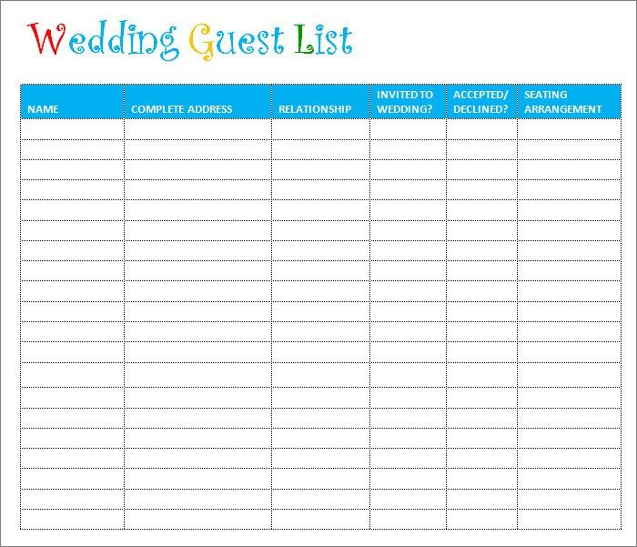 Wedding Guest List Template - 6+ Free Sample, Example, Format ...
