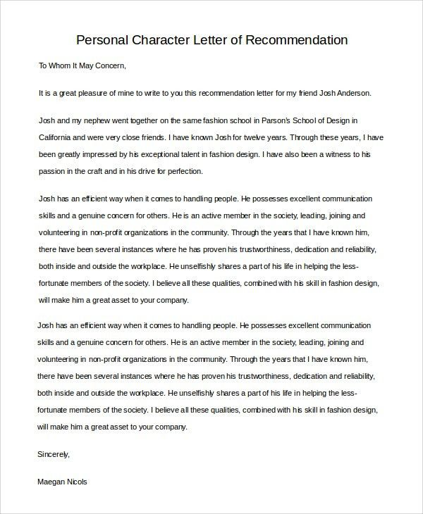 Sample Character Letter of Recommendation - 6+ Examples in PDF, Word