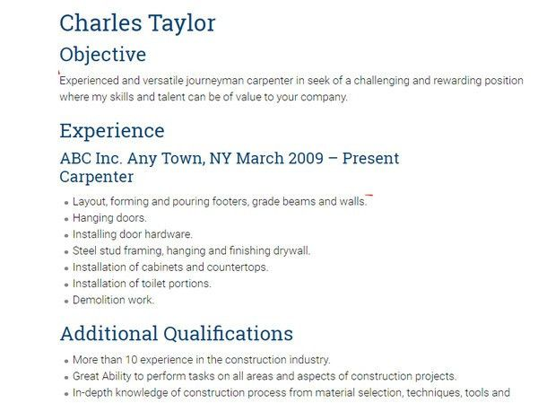 10+ Carpenter Resume Templates - Free PDF, Samples