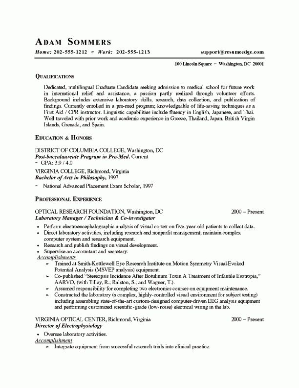 Examples Of Medical Resumes - Resume Templates