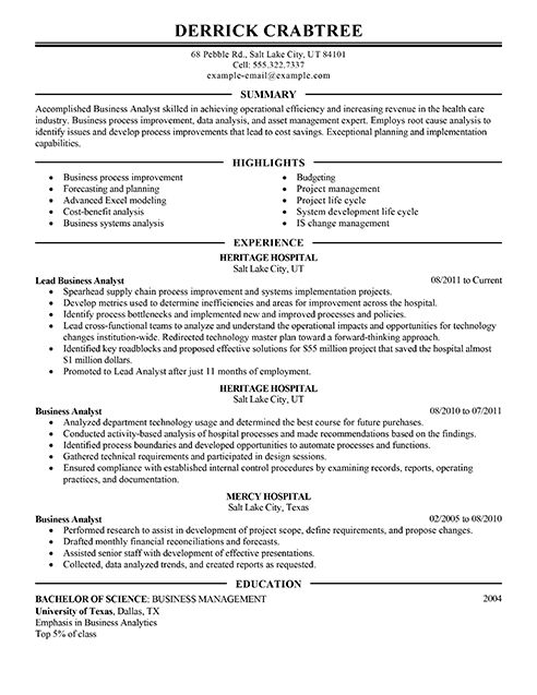 Sample Business Analyst resume | Note to Self | Pinterest ...