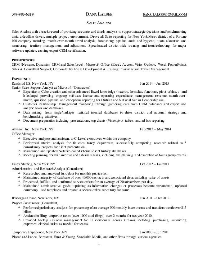 Dana Lalsee's Resume (Sales Analyst)