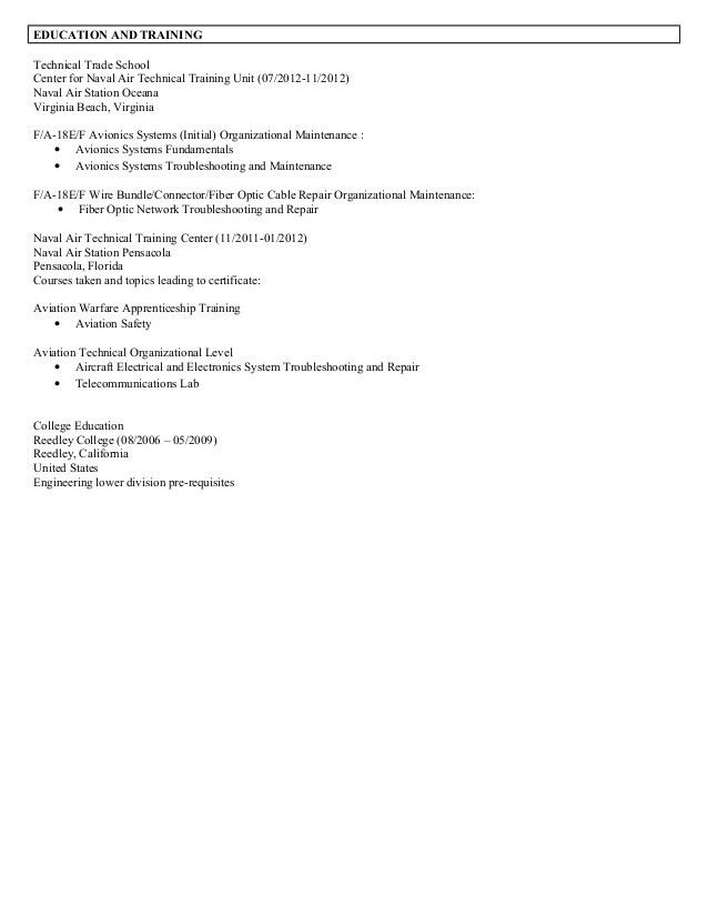 Avionics Resume (James Collins)