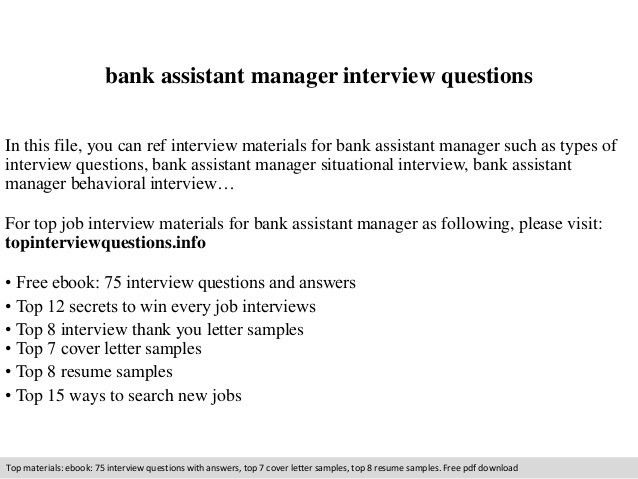 Bank assistant manager interview questions