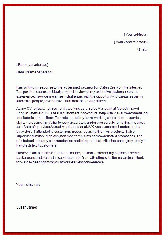 cover letter for cabin crew job cabin crew cover letter example