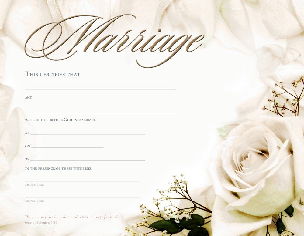 Marriage Certificate Template - formats, Examples in Word Excel ...