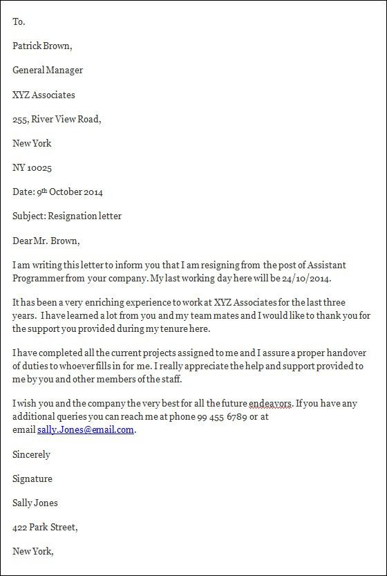 template for resignation letter short notice