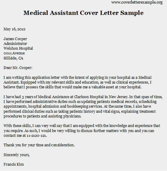 Cover letter for a medical secretary