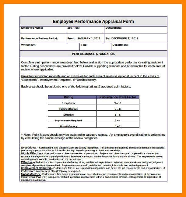 9+ format of performance appraisal | day care receipts