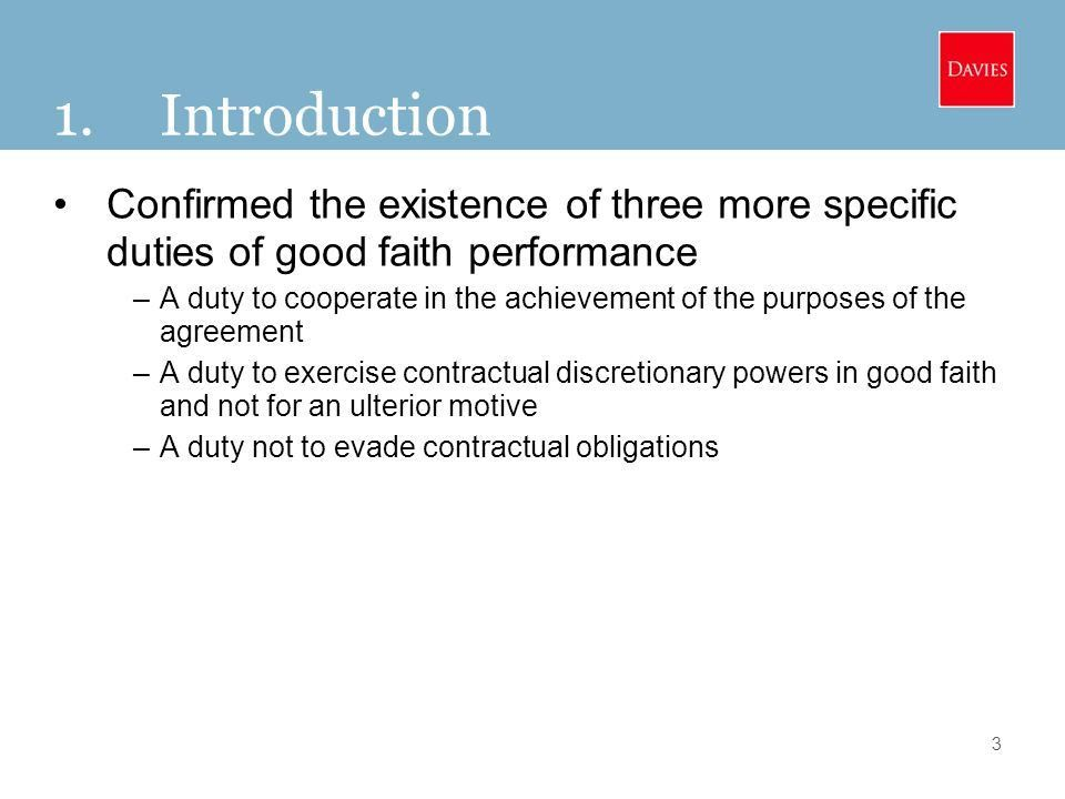 "The New General ""Principle"" of Good Faith Performance and the New ..."