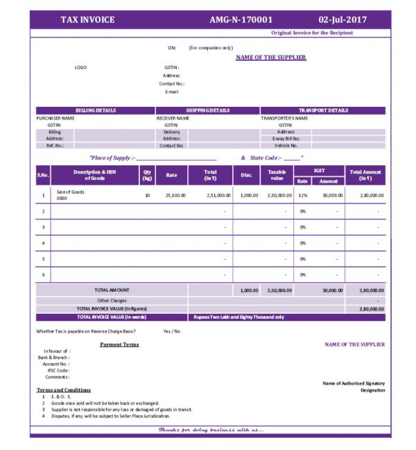 Formats of Tax Invoice and Bill of Supply as per GST Act