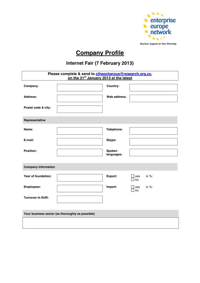 Sample Company Profile in Word and Pdf formats
