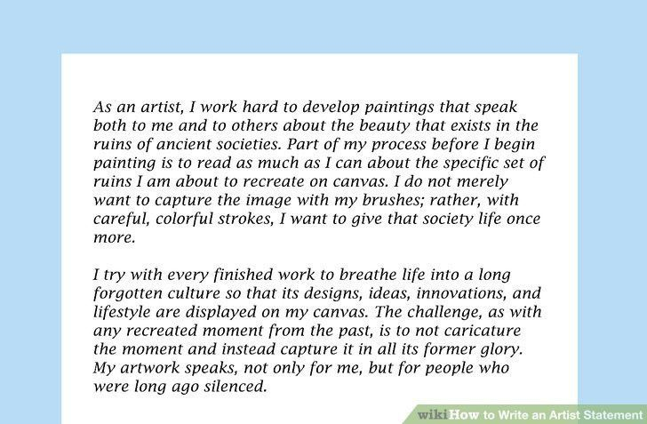 4 Ways to Write an Artist Statement - wikiHow