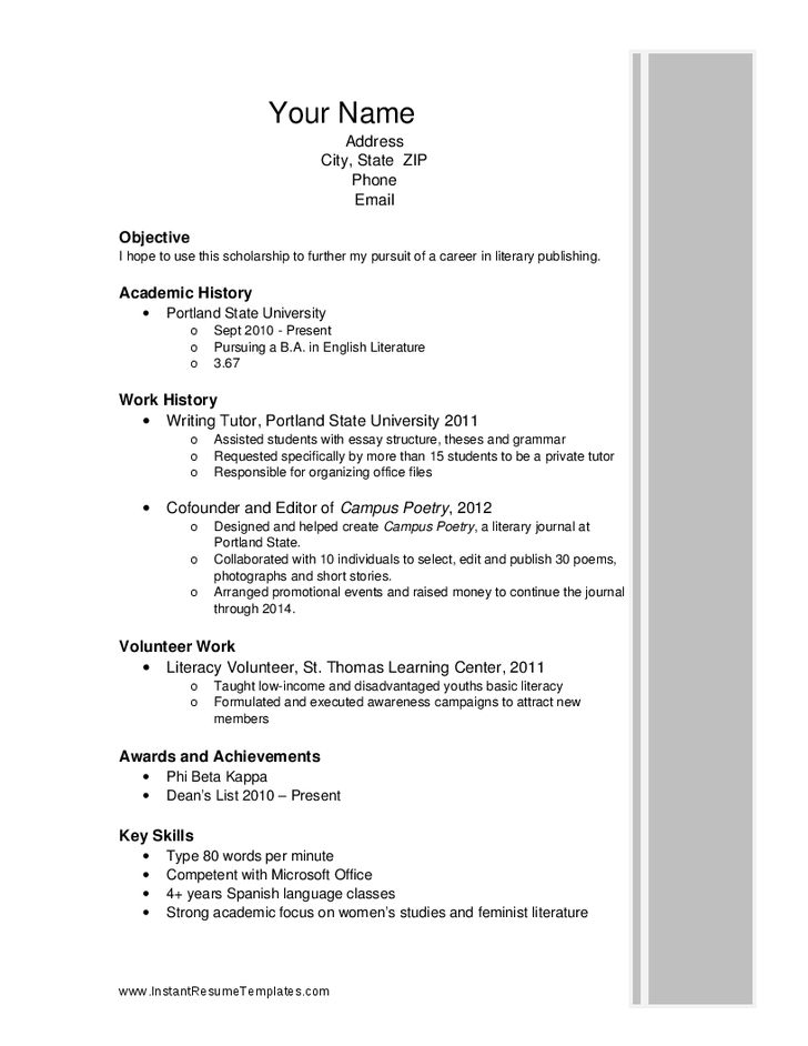 Scholarship Resume Template 6 Scholarship Resume Example Student ...
