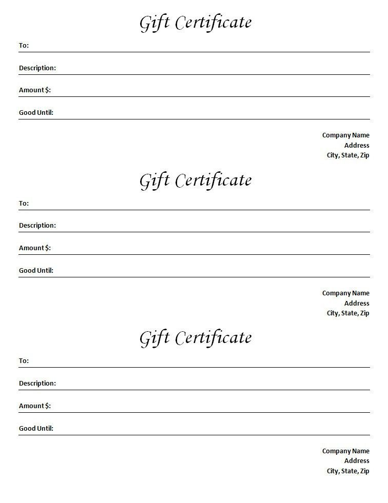 Gift Certificate Template - Blank Microsoft Word Document