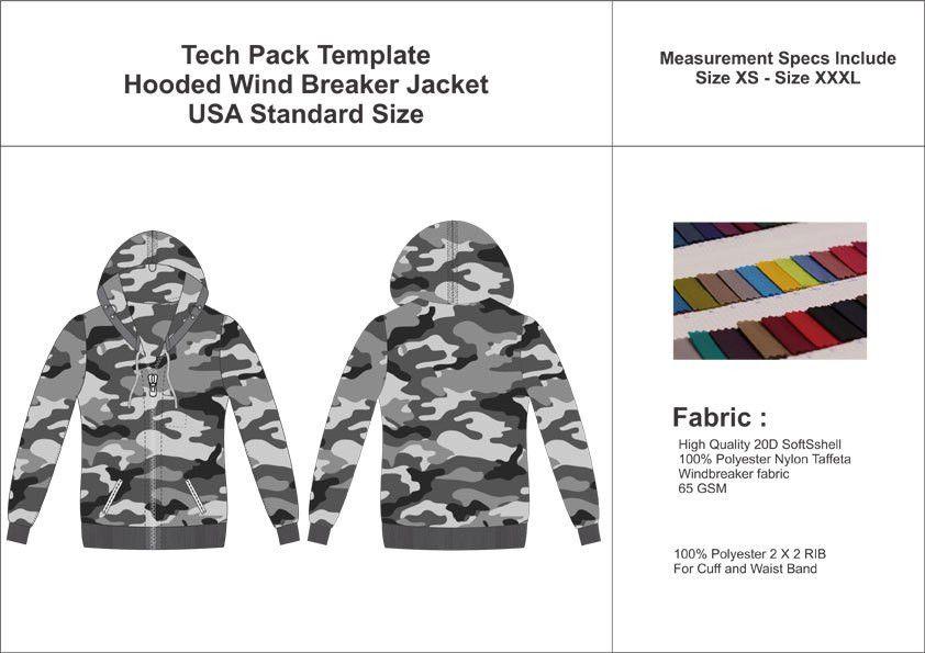 Tech Pack Template Mans Windbreaker Jacket USA Standard Size