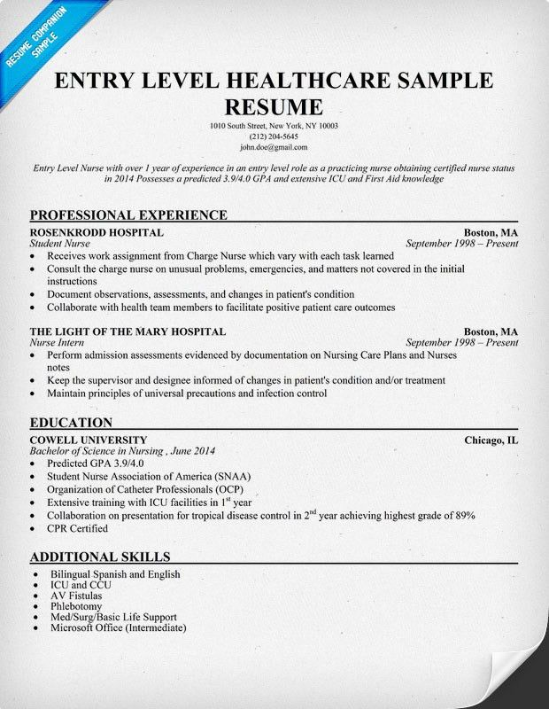 Entry Level Healthcare Resume Example (http://resumecompanion.com ...