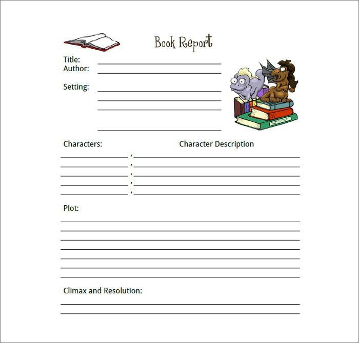 Simple book report forms | Example of how to do a book report