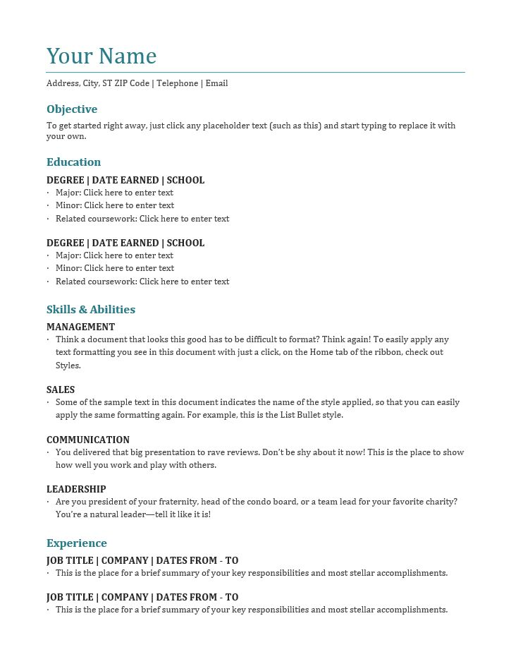Best Blank Resume Templates | Free Download | Best Resume Templates