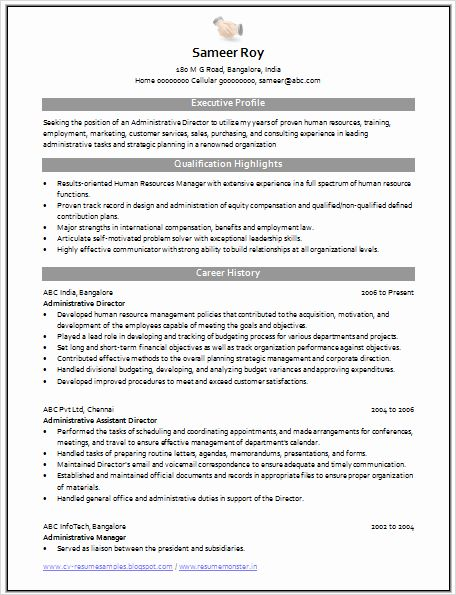 Administrative Director Sample Resume 9 Assistant Manager Resume ...