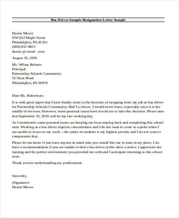 7+ Sample School Resignation Letter - Free Sample, Example, Format ...
