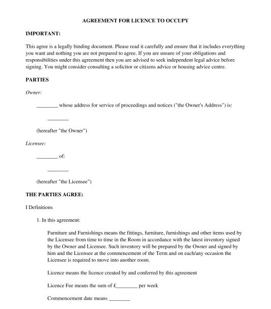 Lodger Agreement - Sample, Template - Word & PDF