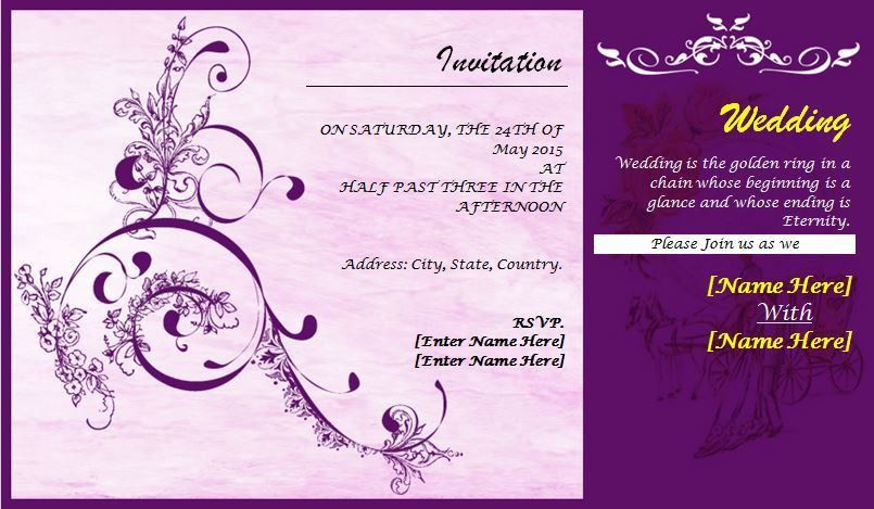 Professionally Design Wedding Invitation Card Template | Word ...