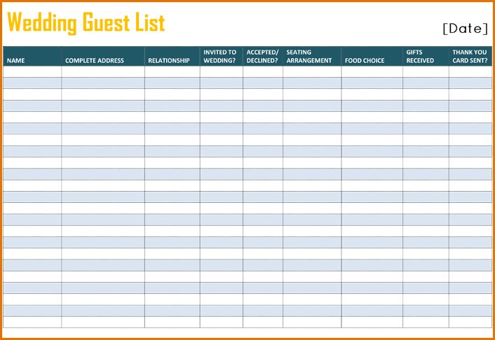 11+ printable wedding guest list template | Job Resumes Word