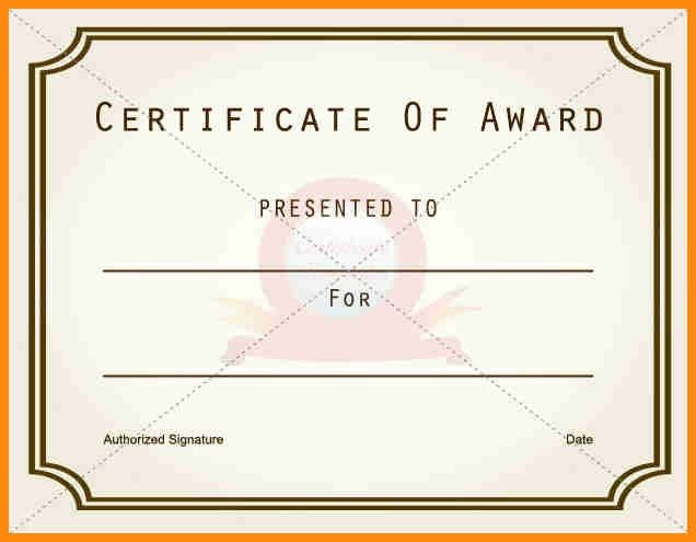 7+ blank award certificate templates | model resumed