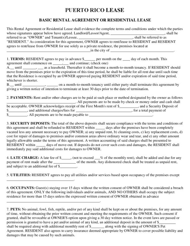 Puerto Rico Rental Lease Agreement Templates | LegalForms.org
