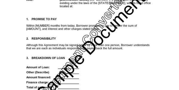 Loan Agreement Loan Repayment Agreement Template Free Consumer ...