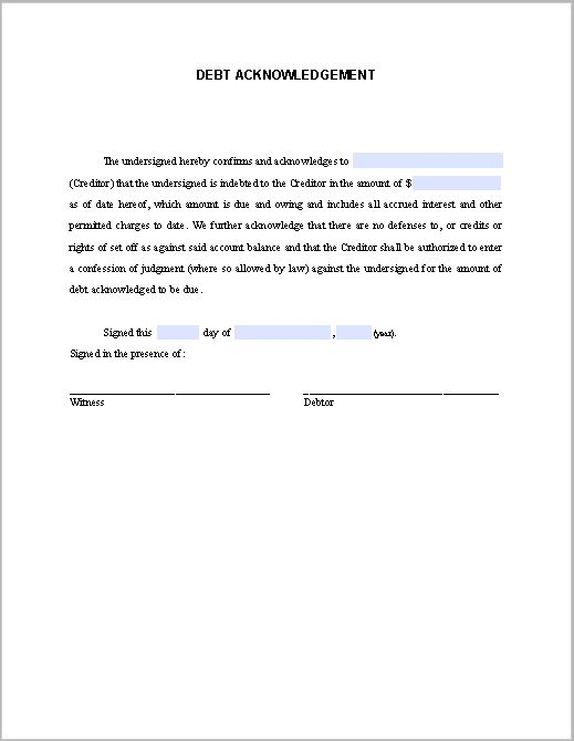 Debt Acknowledgement Letter Sample | Free Fillable PDF Forms