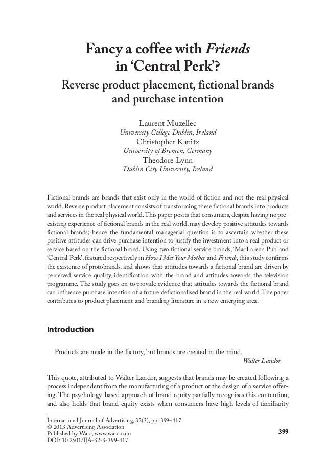 Reverse product placement, fictional brands and purchase intention:Fa…